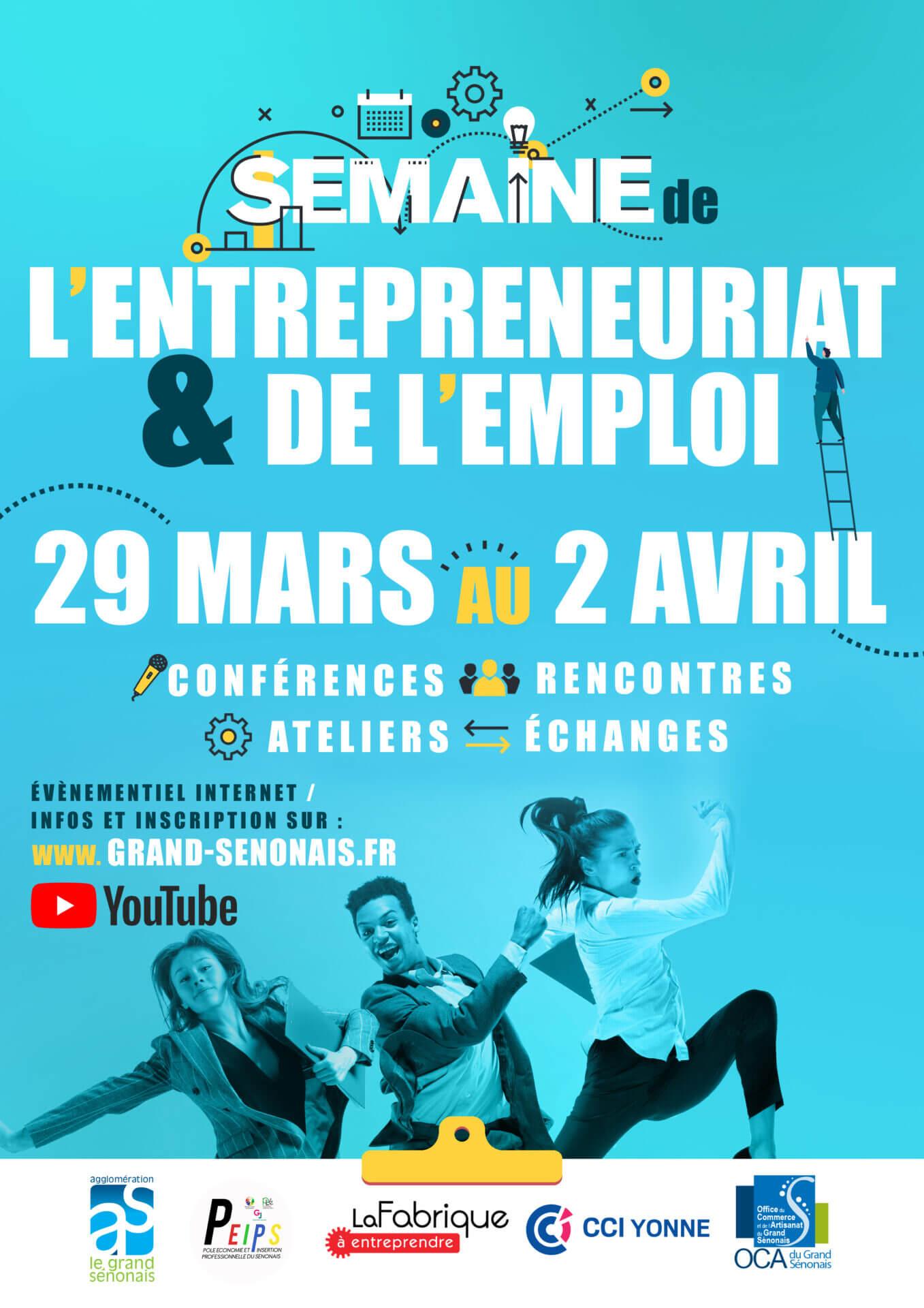 affiche semaine de l'entrepreneuriat et de l'emploi